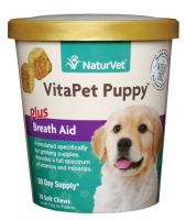NaturVet VitaPet Puppy plus Breath Aid Functional Soft Chews for Dogs