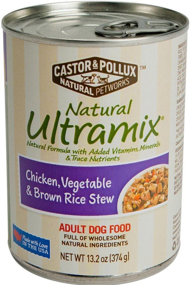 Castor and Pollux Natural Ultramix Chicken Vegetable and Brown Rice Stew Canned Dog Food