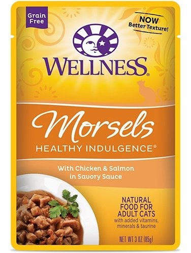 Wellness Healthy Indulgence Natural Grain Free Morsels with Chicken and Salmon in Savory Sauce Cat Food Pouch