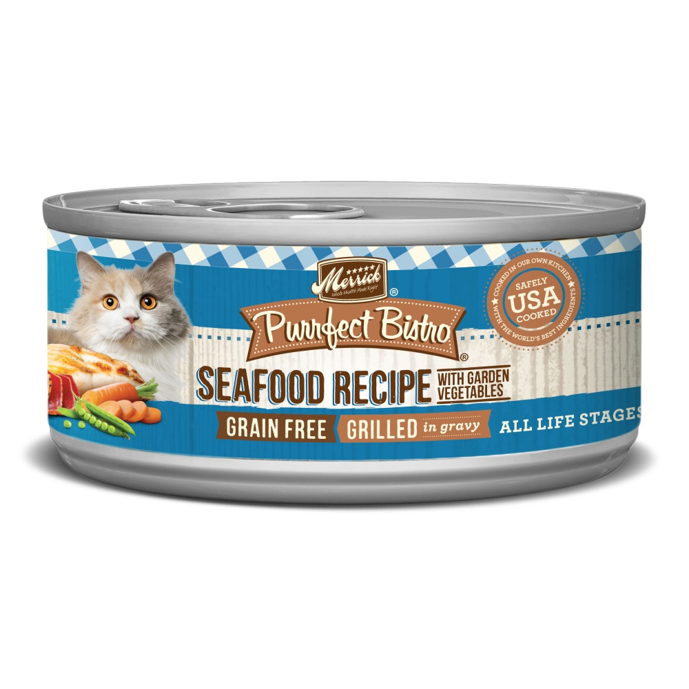 Merrick Purrfect Bistro Grain Free Seafood Grill Recipe Canned Cat Food